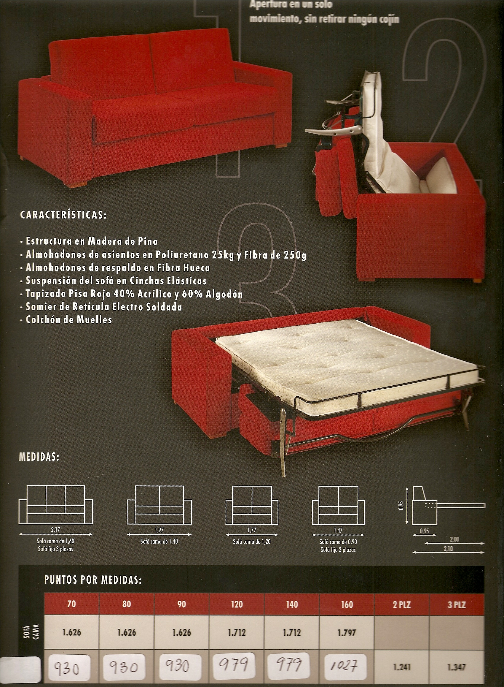 Sof s cama en muebles combar en madrid for Sofa cama sistema italiano en oferta