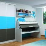 Dormitorios Modulares azul cielo con cama abierta