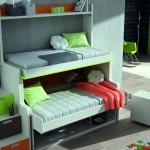 Dormitorios Modulares verde con camas abiertas