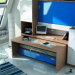 Dormitorios Modulares azul con escritorio abierto