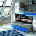 Dormitorios Modulares azul con cama abierto