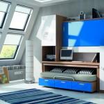 Dormitorios Modulares azul con escritorio cerrado