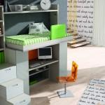 Dormitorios Modulares en blanco con escritorio y cama abierta