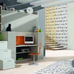 Dormitorios Modulares en blanco con escritorio