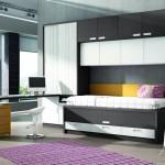 Dormitorios Modulares en blanco y gris con escritorio y cama