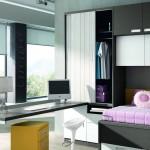 Dormitorios Modulares en blanco y gris con escritorio y armario