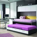 Dormitorios Modulares en blanco y gris con escritorio y camas