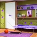Dormitorios Modulares en lila con cama abierta