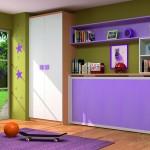 Dormitorios Modulares en lila con cama cerrada