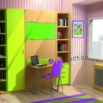 Dormitorios Modulares en verde con cama cerrada