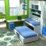 Dormitorios Modulares en blanco con camas y escritorio