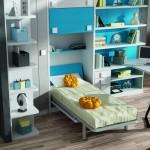 Dormitorios Modularesen azul turquesa con cama abierta