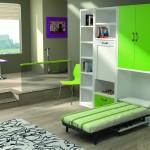 Dormitorios Modulares en verde con cama abierta