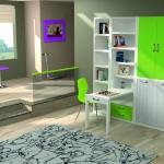 Dormitorios Modulares en verde con cama cerrada y escritorio