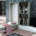 Dormitorios Modulares en blanco y gris con cama abierta