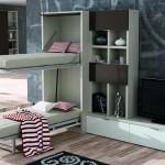 Dormitorios Modulares en blanco y gris con camas abiertas