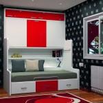 Dormitorios Modulares en blanco y rojo con cama superior cerrada