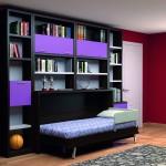 Dormitorios Modulares en negro y morado con cama abierta