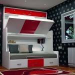 Dormitorios Modulares en blanco y rojo con cama abierta