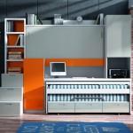 Dormitorios Modulares en blanco y naranja con cama superior cerrada y escritorio