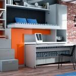 Dormitorios Modulares en blanco y naranja con cama y escritorio