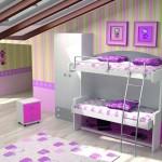 Dormitorios Modulares en blanco y rosa con camas abiertas