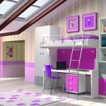 Dormitorios Modulares en blanco y rosa con cama abierta y escritorio