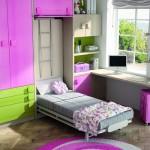 Dormitorios Modulares en verde y rosa con cama abierta