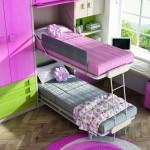 Dormitorios Modulares en rosa y verde con camas