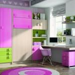 Dormitorios Modulares en rosa y verde con cama cerrada y escritorio