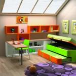 Dormitorios Modulares en naranja y verde con cama abierta y escritorio