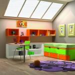 Dormitorios Modulares en naranja y verde con cama cerrada y escritorio