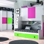Dormitorios Modulares en rosa y verde con cama abierta
