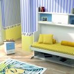 Dormitorios Modulares en blanco y azul con cama abierta