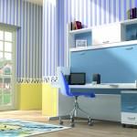 Dormitorios Modulares en blanco y azul con cama cerrada y escritorio