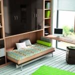 Dormitorios Modulares en negro con cama abierta