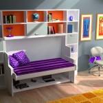 Dormitorios Modulares en blanco y naranja con cama abierta