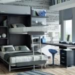 Dormitorios Modulares en marron con camas abiertas y escritorio