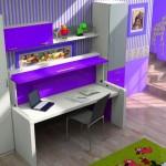 Dormitorios Modulares en morado con cama cerrada y escritorio