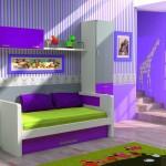 Dormitorios Modulares en morado con cama tresillo