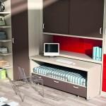 Dormitorios Modulares en marron con cama y escritorio extraible