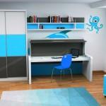 Dormitorios Modulares en azul con cama cerrada y escritorio