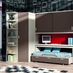 Dormitorios Modulares en marron con cama y escritorio