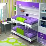 Dormitorios Modulares en lila con camas abiertas y escritorio