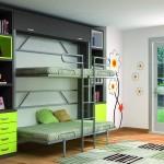 Dormitorios Modulares en gris con camas abiertas
