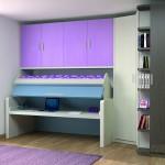Dormitorios Modulares en lila con escritorio y cama abatible