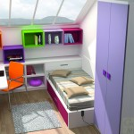 Dormitorios Modulares en lila con escritorio y cama