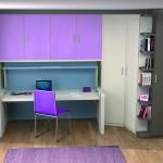 Dormitorios Modulares en lila con escritorio y cama cerrada