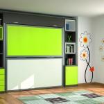 Dormitorios Modulares en verde y gris camas cerradas