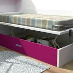 Dormitorios Modulares en blanco y magenta cama abierta